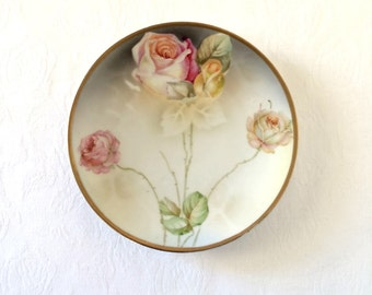 Antique Prov Saxe E.S. Germany Roses Plate Dish Schlegelmilch Vintage Pink Roses
