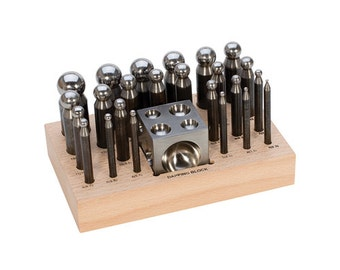 Dapping Punch Set 24 PC. W/Block  (2.3 TO 25MM) - Metal Working Jewelry Tool
