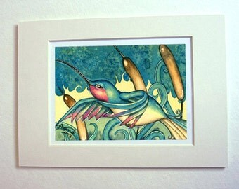 Hummingbird art print watercolor painting matted for 5 x 7 frame