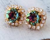 Rainbow crystal earrings, Peacock crystal stud earrings, Swarovski Crystal stud earrings, multicolor jewel tone stud earring, gold or silver