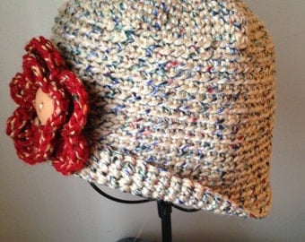 Downton Abbey cloche,Downton Abbey hat, roaring 20's, tweed hat,red double-layered sewn-on flower,tweed hat, winter hat