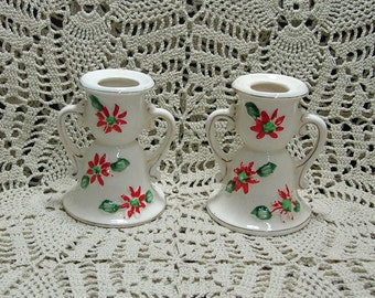 Vintage Pair Handled Christmas Candle Holders Old Japan Poinsettias