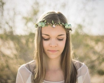 Boho Bridal Floral Crown, Mint Green Flower Crown. Woodland, spring, bohemian, festival, Weddings, Bridal Accessories