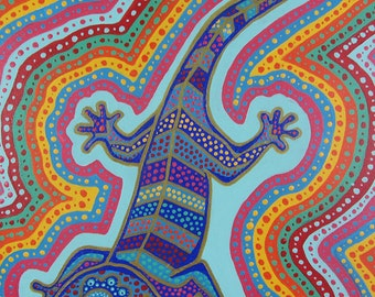 "Original Acrylic Painting of RAINBOW LIZARD - 16""x20"" Large Bold Bright Acrylic with Gold Detailing on Stretched Canvas"