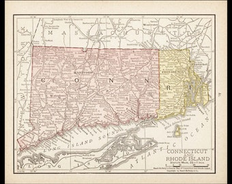 Small Connecticut Map, Rhode Island State Map (Antique Wall Decor, Antique Color Map, Antique Atlas Wall Art Print) Color Map No. 17-3