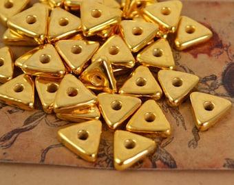 20 Mykonos Gold Triangle Washers - 10mm 24 Karat Gold - Metalized Greek Ceramic Beads