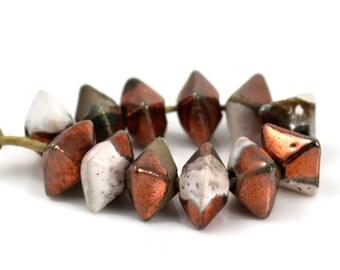 6 Mykonos Oxyhedron Raku - 11mm Harlequin Glaze - Greek Ceramic Raku Beads