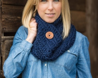 Chunky Cowl Scarf - Crochet Chunky Scarf with Button - Crochet Cowl Neck Warmer Scarves - Navy Blue Crochet Cowl Scarf - Gift For Her