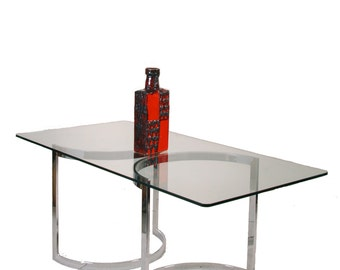 Milo Baughman Retangle Clear Glass Top Dining Table