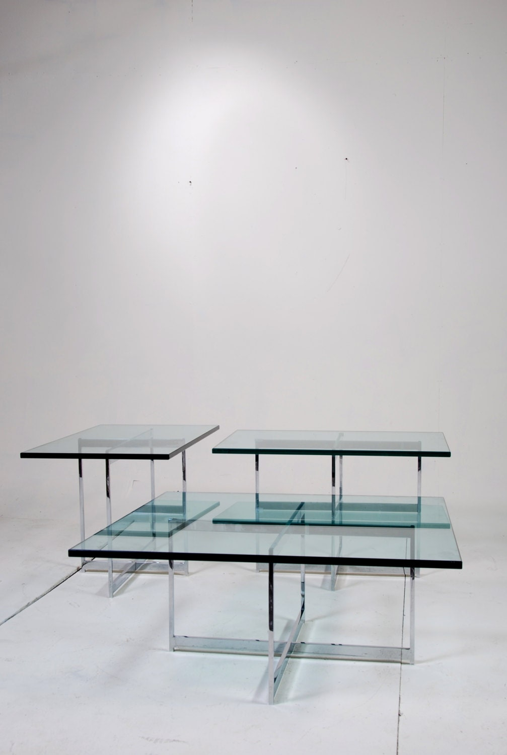 mies van der rohe style stainless steel glass table set. Black Bedroom Furniture Sets. Home Design Ideas