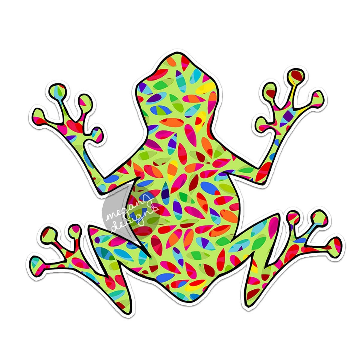 Hippie Tree Frog Decal Colorful Car Decal Vinyl Bumper