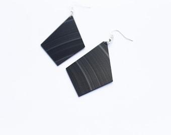 vinyl record earrings black earrings minimalist earrings geometric earrings large earrings music geek jewelry statement earrings gift idea