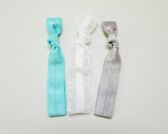 Elastic Hair Ties, Set of 3, White Ruffle Collection