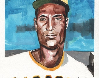 "Roberto Clemente. Pittsburgh Pirates. Watercolor and Gouache on Paper. 9"" x 12"""