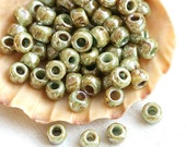 TOHO Seed beads, size 6/0, Hybrid Opaque - Ultra Luster Green, Y183, round, japanese glass - 6g - S409