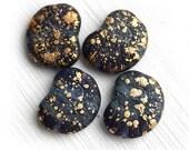 Nautilus Czech beads, glass seashell, Dark Blue Golden Flakes, ammonite fossil, large - 14x17mm - 4Pc - 0230