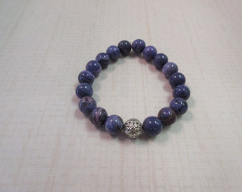 Purple Riverstone 8mm bracelet with silver ball