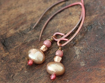 Rose Gold and Pearl Earrings - Dainty Pink and Copper Earrings