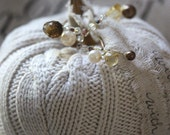 Handmade Knit Pumpkin (Beige Color) with Real Pumpkin Stem and added Embellishments