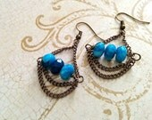 The Vanessa- Three Stone Blue Agate and Dark Cooper Chain Chandelier Dangle Earrings
