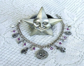 Aquarius Charm Bracelet Zodiac Bracelet Horoscope Birthday Gift