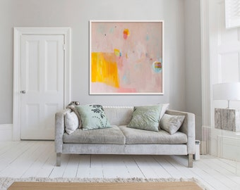 "ABSTRACT GICLÉE PRINT of original painting, large print, pink, yellow, orange, ""Eminently Pink 2"""