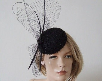 """Black Beaded Veiled and Quills Button Cocktail Hat Headpiece Fascinator """"Nicole"""" FG0409 Winter Wedding Christmas New Years Eve Party Ball"""