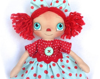 SALE Primitive Raggedy Ann Doll Aqua And Red Polkadot