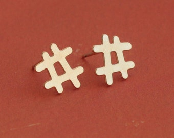 Hashtag Studs, Gold Instagram Post Earrings , Hashtag Earrings , Hash Symbol , Gold Hashtag , Hashtag Jewelry , Social Media , Tech Lover
