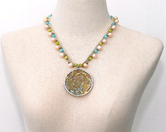 Authentic Roman glass necklace Large pendant Antique Pearls Ancient Rome 2000 years old Round pendant Freshwater pearl beaded One of a kind