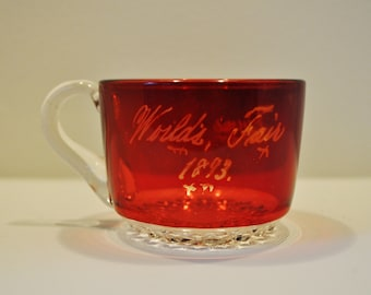 Vintage Chicago World's Fair 1893 Cup Flash Glass Ruby Stained Souvenir
