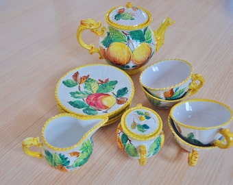 Vintage Tea Set Italy Italian Hand Painted Pottery Fruit Designs