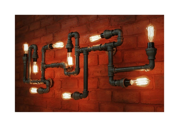 Grand industriel lumi re au plafond luminaire steampunk tuyau - Grand lustre industriel ...