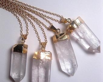 Raw Quartz Necklace - Crystal Necklace - Point Crystal - Natural Necklace - Gold Quartz