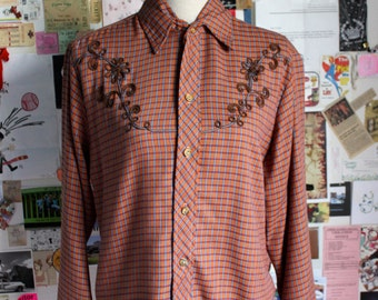 XMAS in JULY SALE : 1970s western plaid shirt