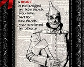 Oz Tin Man Heart Quote, Dictionary Print, Upcycled Book Art, wizard of oz, upcycled decor