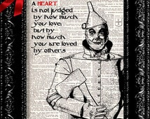 Wizard Of Oz - Tin Man Heart Quote - Dictionary Book Print Upcycled Book Art Book Page Vintage Dictionary Book Print  Buy 2 Get 1 FREE