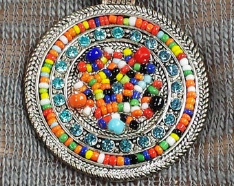 """Vintage Native American Style Glass """"Seed Beads"""" Ball Chain Necklace"""