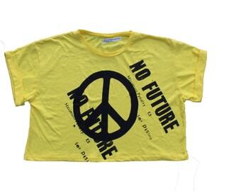 Yellow Punk Crop Tshirt - Sex Pistols - Peace Symbol Crop Top - ONE SIZE