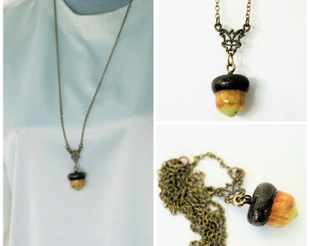 Peter Pan Jewelry Acorn For Wendy  - Acorn Hidden Kiss Necklace Peter Pan and Wendy Hand Painted And Antique Brass