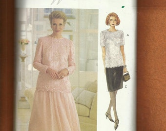 Vogue 8635 Mother of the Bride Tunic Length Top with Scalloped Hemline & Slim or Flared Skirts Sizes  8..10..12 UNCUT