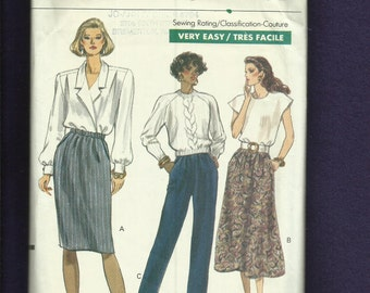 Vintage 1989 Vogue 7677 Pencil or A Line Skirts & Pants All with Side Seam Pockets Sizes  8..10..12 UNCUT