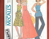 Vintage 1975 McCall's Sample Pattern, Misses' Wrap Halter Dress Apron, Or Tunic In 3 Lengths, Includes Sizes 6 to 20, 5 Easy Pieces, UNCUT