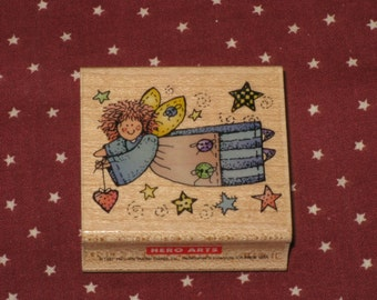 Quilter's Angel Rubber Stamp Wood Mounted Hero  Arts