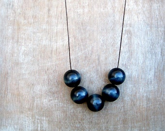 Geometric Necklace, Blue Necklace, Wooden Necklace, Boho Necklace