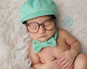 Mint, Chartreuse, Boys cap and tie, Newsie Hat, Toddler hat and tie, Infant Boy hat, Newsboy Hat, Herringbone, Ring Bearer, Baby Boy Prop