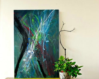 Abstract Painting, Large Modern Wall Art, Large painting, Urban Art on Canvas 36x24 by heroux