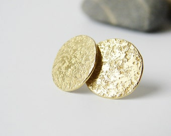 Full moon. Textured brass disc stud earrings. Minimalist jewelry. Gold tone brass and silver. Gift for her.