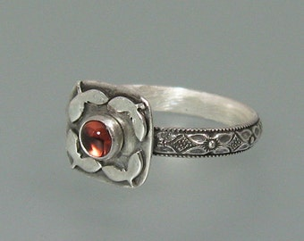 Garnet engagement ring - sterling silver garnet ring -nontraditional engagement ring - vintage style ring - January birthstone