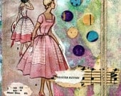 Retro Gift Mini Collage Lady in Pink with Hand Dyed Tissue Paper, Hemp, Stamps and Texture Gift Wrapped
